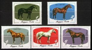 Hungary MNH 3766-70 Horses 1985