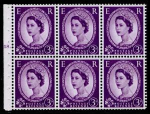 SG575, 3d deep lilac, NH MINT. Cat £50. BOOKLET PANE CYL K18 DOT. CREAM PAPER.