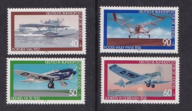 Germany    #B558-B561   MNH  1979  airplanes  Dornier  Junkers  Heinkel