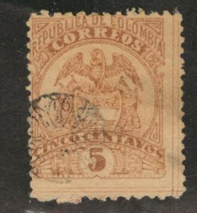 Colombia Scott 152 used 1892-99 coat of arms