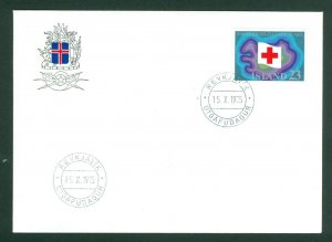 Iceland. FDC  Cachet 1975. Iceland's Red Cross 50 Year. 23 Kr.