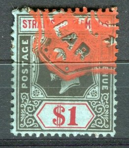 STRAITS SETTLEMENTS; Early 1900s fine used GV issue Fiscal cancel on $1