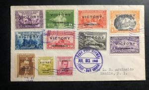 1945 Cebu Philippines First Day Cover FDC to Manila Victory stamp Overprints set