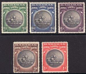 1930 Bahamas KGV complete set (5) Seal of Bahamas MLH Sc# 85 / 89 CV $90.25 Stk2