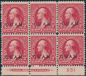 GUAM #2 LOWER PLATE NO. BLK/6 W/ IMPRINT VF OG TROPICAL GUM CV $300 BR5770