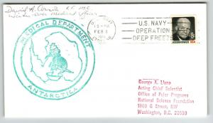 US 1974 Antarctica Medical Department Cover / Officer Signed - Z13776