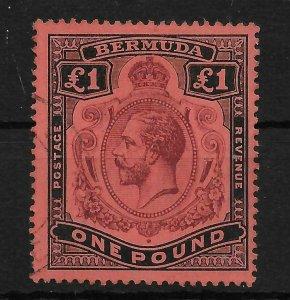 BERMUDA SG55 1918 1 PURPLE & BLACK ON RED USED