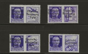 German Occupation of Zara Mi 20 I, II, III & IV MNH  (409368)