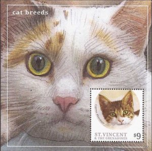 St Vincent - 2013 Cat Breeds - Cyprus Shorthair - Souvenir Sheet - Scott #3904