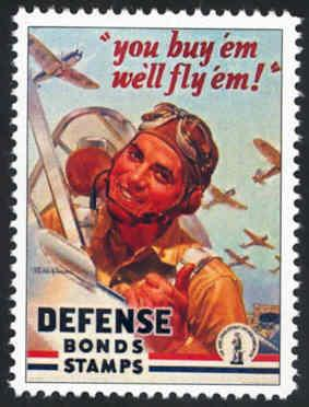 Patriotic WW2 Poster Stamp - Defense Bonds - Cinderella