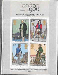 GB #874a   London 1980 Stamp Expo miniture Sheet (MNH) CV $2.00