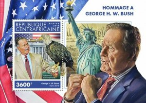 HERRICKSTAMP NEW ISSUES CENTRAL AFRICA George H.W. Bush S/S #2