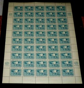 U.N. 1955,NEW YORK #31, CIVIL AVIATION ISSUE, MNH, CONTROL #3, SHEET/50, LQQK!