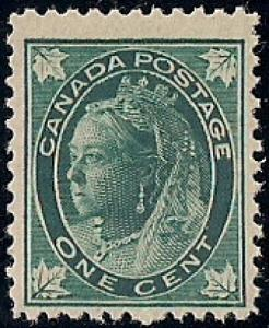 Canada #67 1 cent 1897 Queen Victoria Stamp Mint NH OG F