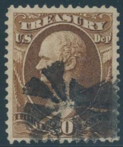 #O81 30c TREASURY DEPT VF-XF USED WITH FANCY CANCEL BU8486