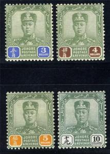 MALAYA JOHORE SCOTT# 119-22 SG# 122-25 MINT HINGED AS SHOWN