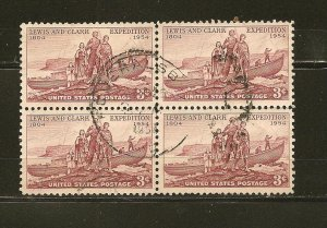 USA 1063 Lewis and Clark Block of 4 Used