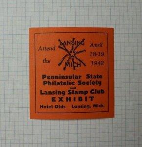 PS PS Lansing MI Stamp Club Expo !942 Souvenir Label AD