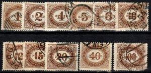 Austria #J22-3, J25-33  Used  CV $6.00 (X1062)