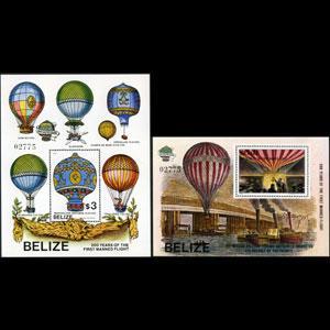 BELIZE 1983 - Scott# 678-9 S/S Manned Flight NH