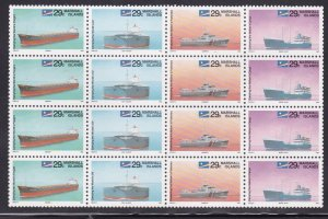Marshall Islands 414-417, MNH Block of 16 - Ships