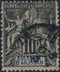 ANJOUAN - 1892 Yv./Mi.5 10c noir sur lilas - Oblitéré TB