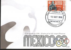 J) 2018 MEXICO, DOVE, 50 YEARS OF THE XIX OLYMPIC GAMES OF 1968, POSTCARD