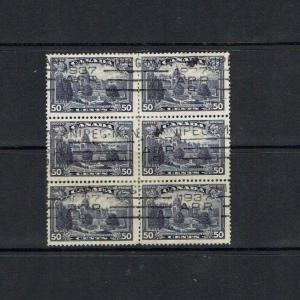 Canada: 1935, 50c  definitive, Parliament Building Victoria, in used block x 6.