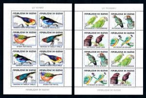 [95699] Guinea 2001 Birds Vögel Oiseaux Parrots 2 Miniature Sheets MNH