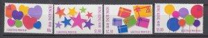 J29097, 1992 hong kong set mh #661-4 greeting stamps