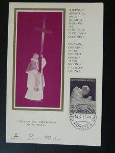 Pope Paul VI opening Vatican II council maximum card 1965 Vatican 84871