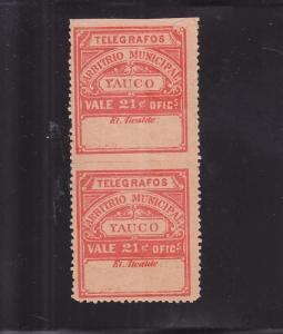 Puerto Rico-Yauco, Sc #73, 21 Cents, Imperf between Pair (24736)
