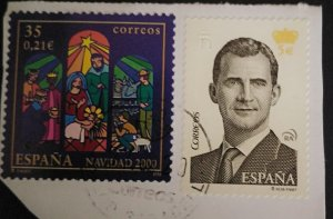 Spain 2 used stamps on paper