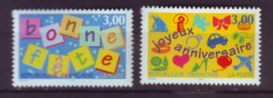 J20345  jlstamps 1997 france set mnh #2555-6 happy holidays