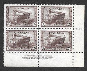 Doyle's_Stamps: XF MNH 1942 Sct #260** Canadian Banknote Company 20c Plate Block