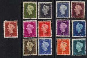 Netherlands 1948 used Wilhelmina low vals 13 stamps complete