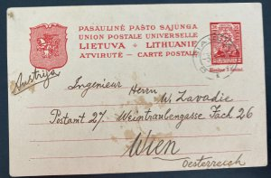 1930 Siauliai Lithuania Postal stationery Postcard cover To Vienna Austria