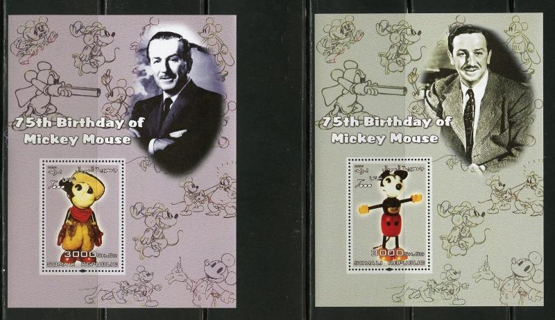 SOMALIA 2005  DISNEY 75th BIRTHDAY OF MICKEY MOUSE ANTIQUE TOY   S/S (4)   MINT