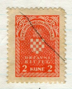 CROATIA; 1940s early classic Revenue/Fiscal issue fine used 2k. value