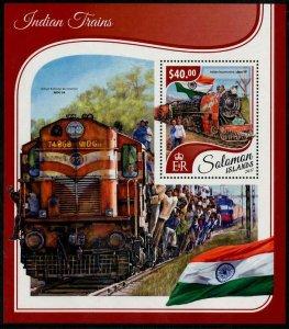 HERRICKSTAMP NEW ISSUES SOLOMON ISLANDS Sc.# 2402 Indian Trains Souvenir Sheet