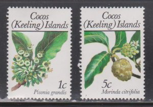 COCOS (KEELING) ISLANDS Scott # 183, 185 MH - Flowers