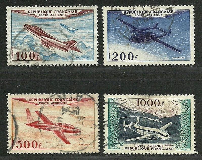 FRANCE 1954  Fine Used Hinged Air Post Stamps Scott # C29-C32 Retail 29.00$