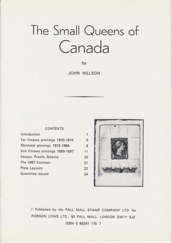 The Small Queens of Canada, by John Hillson, NEW