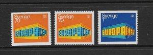 SWEDEN - EUROPA 1969 - SCOTT 814 TO 816 - MNH