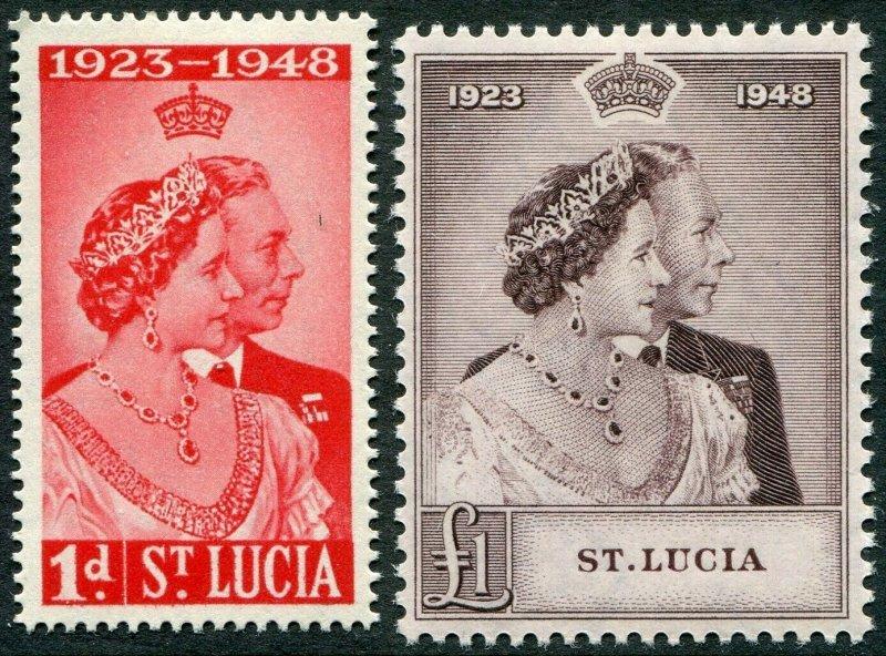 ST LUCIA-1948 Royal Silver Wedding Set Sg 144-145 MOUNTED MINT V49008