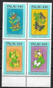 Palau MNH Block 186a Butterflies & Flowers 1988