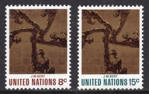 United Nations  New York  #232-233  1972 MNH  the five continents