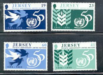 Jersey  Sc 736-9 1995 50 Years United Nations stamps mint NH