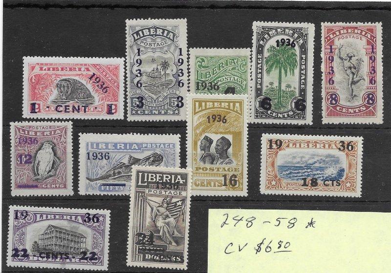 Liberia #248-258 MH - Stamp Set - CAT VALUE $6.80