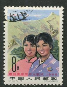 China - Scott 852 - Chinese & Japanese Youth -1965 - VFU- Single 8f stamp